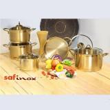 سرویس قابلمه استیل سافینوکس 10 پارچه مدل ویژن طلایی