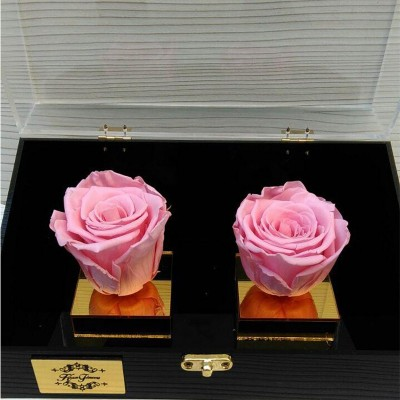 باکس گل رز جاودان دو شاخه