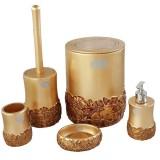 ست سرویس بهداشتی 5 پارچه تمام رزین Vipp مدل گل بنفشه طلایی