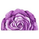 فرش سه بعدی زرباف طرح گل رز نیم رنگ یاسی