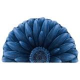 فرش سه بعدی زرباف طرح گل داوودی نیم رنگ آبی