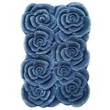فرش سه بعدی زرباف طرح گلستان رنگ آبی