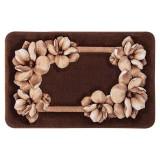 فرش سه بعدی زرباف طرح شکوفه رنگ شکلاتی