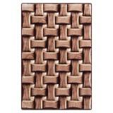 فرش سه بعدی زرباف طرح پارکت رنگ شکلاتی
