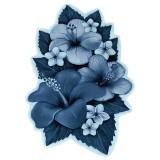 فرش سه بعدی زرباف طرح ارکیده رنگ آبی