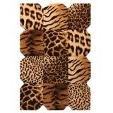 فرش سه بعدی زرباف طرح پوستی رنگ شکلاتی