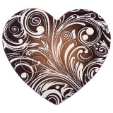 فرش سه بعدی زرباف طرح قلب رنگ شکلاتی
