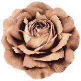 فرش سه بعدی زرباف طرح رز مینیاتوری رنگ شکلاتی