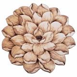 فرش سه بعدی زرباف طرح گل نیلوفر رنگ شکلاتی