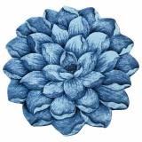 فرش سه بعدی زرباف طرح گل نیلوفر رنگ آبی