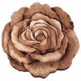 فرش سه بعدی زرباف طرح رز رنگ شکلاتی