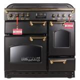 اجاق گاز تاکنوگاز کلاسیک مدل فالکون 5B BB Gold مشکی با دستگیره طلایی و صفحه گاز لعاب مشکی