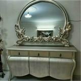 آینه کنسول تمام چوب خمره ای