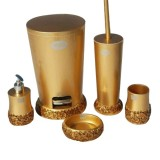 ست سرویس بهداشتی 5 پارچه Vipp مدل گل بنفشه طلایی
