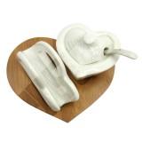 مربا خوری و جا دستمالی چوب چینی قلبی مدل 61034 برایتون